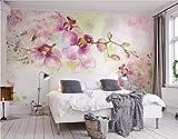 Fototapete 3D Tapete Schön Rosa Aquarell Handgemalten Orchidee Hintergrund Mauer 3D Effekt...