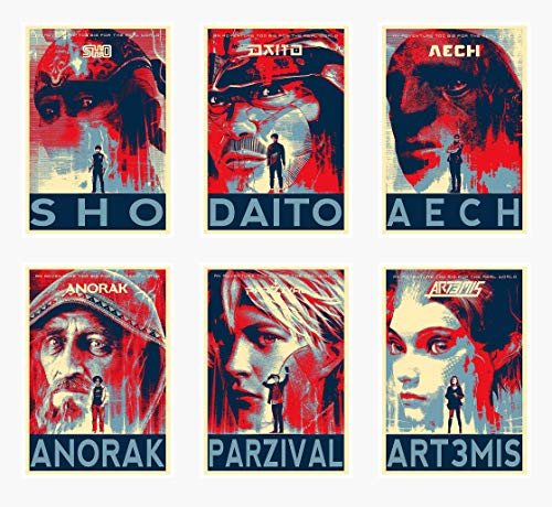 Wall Art Ready Player One Movie Characters Sho Daito Aech Anorak Parzival Artemis Poster Prints Set of 6 Size A4 (21cm x 29cm) Unframed GREAT GIFT