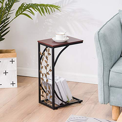 Sofa Side End Tables Living Room, Vintage Accent Couch Table, C Shaped Table for Coffee Snack Laptop, 5430.521CM Leaf Pattern Iron Side Table Coffee Table Brown