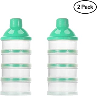 Accmor Baby Milk Powder Formula Dispenser, Non-Spill Smart Stackable Baby Feeding Travel Storage Container, BPA Free, 4 Compartments,Clear