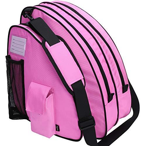 TOPOWN Inline & Ice Skate Bag for Boys and Girls Men Inline Skate Bag Women Roller Skate Bag Premium Black Ice Skate Bag Rose Red Pink Inline Skate Bag