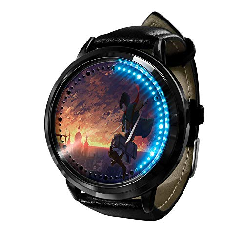 Ataque a Titan Watch Relojes De Pulsera para Hombre Pantalla TáCtil Led Binaria Cuarzo JaponéS Reloj Anime De Pulsera Digital Resistente Al Agua Reloj De Pulsera Unisex-C.