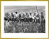 1art1 Nueva York Póster Impresión Artística con Marco (Plástico) - Almuerzo En Lo Alto De Un Rascacielos, 1932 (50 x 40cm)
