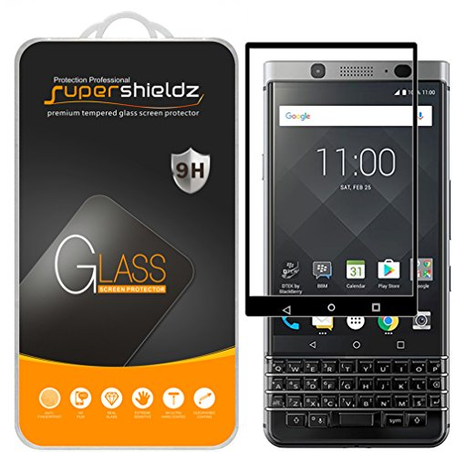 Supershieldz (2 Pack) for BlackBerry Keyone Tempered Glass Screen Protector, (Full Screen Coverage) Anti Scratch, Bubble Free (Black)