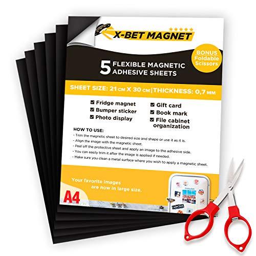 A4 Foglio Magnetico Adesivo Flessibile - 21 cm x 30 cm - Magneti Autoadesivo per Foto - Nastro Magnetico Adesivo - Magneti Adesivi - Calamite Foto - Kit Magneti per Magneti Sottili - 5 Pz