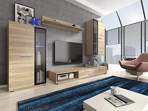 Furniture24 Wohnwand Pino, Anbauwand, Hängeschrank, Hängeregal, Vitrine, TV Lowboard, Mediawand (Ohne Beleuchtung)