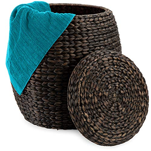 Best Choice Products Vintage Multipurpose Hyacinth Storage Basket, Plant Décor, Handwoven Organizer Tote for Bedroom, Living Room, Bathroom, w/Lid - Brown