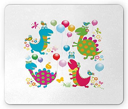 Printawe Dinosaurier Party Mauspad, Cartoon Luftballons Vögel Schmetterlinge Sommer Baby Dino Doddle Spielzimmer Thema, Rechteck rutschfeste Gummi Mauspad, Standardgröße, Multicolor