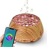 WiFi Difusor Aromaterapia, Humidificador Ultrasónico Aceites Esenciales 400ml 7-Color LED 2 Modos de Nieble Controlable por Vía WiFi y Voz Compatible con Alexa y Google Home,Wood Grain