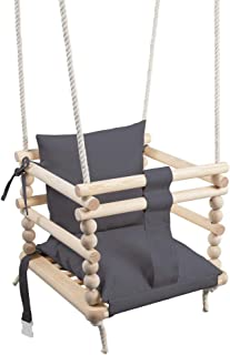 MAMOI - Columpio para niños, Columpio 3 en 1 + cinturón de Seguridad, Columpio para niños pequeños, Columpio para bebé y Columpio, Columpio de Madera para niños … (Grau, Hellgrau)