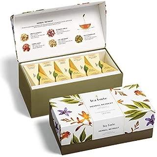 Tea Forte Presentation Box Tea Sampler, Assorted Variety Tea Box, 20 Handcrafted Pyramid Tea Infuser Bags, Herbal Retreat