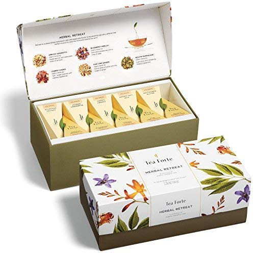 Tea Forte Presentation Box Presentation Box Tea Sampler Gift Set, 20 Assorted Variety Handcrafted Pyramid Tea Infuser Bags (Herbal Retreat)