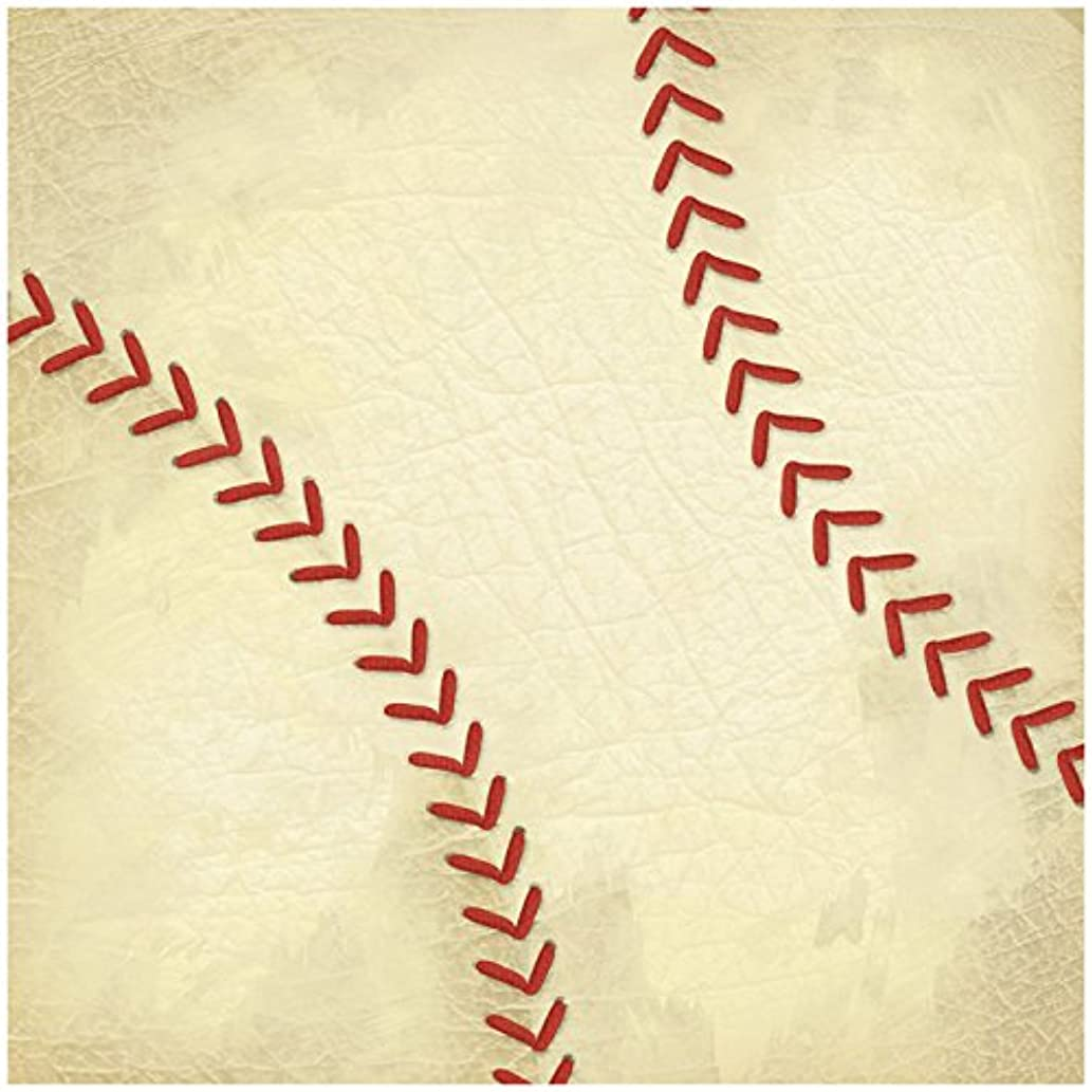 Karen Foster Design Scrapbooking Paper, 25 Sheets, Baseball Stitches, 12 x 12
