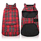 Kama Plaid Dog Fleece Vest, Reversible Warm Dog Clothes, Winter Dog Coat for Cold Weather, Dog Fleece Jacket with Pockets, Sweaters for Small Medium Large Dogs Christmas Costume