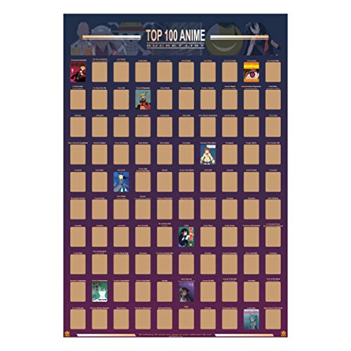Guildable Top 100 Anime Scratch Off Poster - Anime Bucket List | Premium and Artistic Icons | Great Gift For Anime Enthusiasts (16.5' x 23.4')