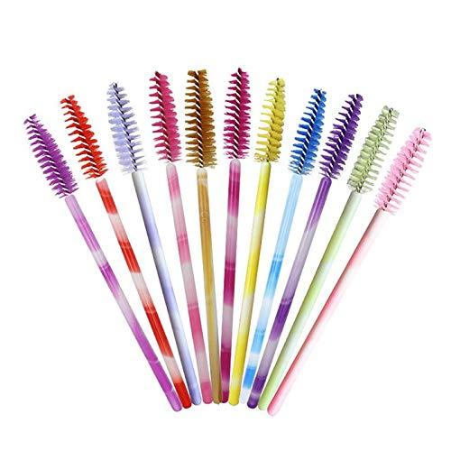 CyFe Lot de 100 baguettes de mascara jetables colorées pour sourcils, applicateur de cils, appareil de maquillage pour cils, extension et levage de cils (couleur aléatoire)