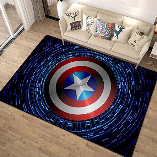 Meinianda Teppich Kinder Anime Avengers Captain America Teppich Helden Nordic Modern 3D Wohnzimmer Schlafzimmer Dekorativer Teppich 60 * 90cm