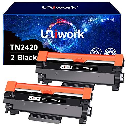Uniwork Compatibili per Brother TN2420 TN-2420 TN2410 TN-2410 Cartucce di Toner per MFC-L2710DW MFC-L2710DN HL-L2350DW HL-L2310D HL-L2370DN DCP-L2530DW (Nero, 2-Pack)
