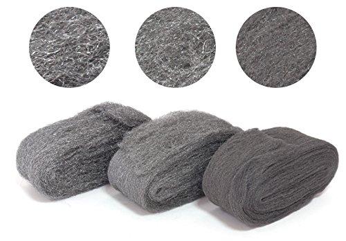 PREMIUM Stahlwolle (7 cm) - Metall Polierset (3x 150) Feinheitsgrad fein grob mittel - für Stahl Messing Kupfer Chrom Aluminium Holz uvm. Stahldraht Wolle