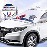 2win2buy Windshield Snow Car Cover, Windproof Dustproof Front Window Car Cover with Magnetic Edges Frost & Ice Removal Protect Wipers Fit Most Sedans Cars Shade Snow Cover with Mirror Cover
