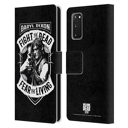 Head Case Designs Offizielle AMC The Walking Dead RPG Schwarz Weiss Daryl Dixon Biker Kunst Leder Brieftaschen Huelle kompatibel mit Samsung Galaxy S20 / S20 5G