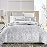 Hudson Park Collection Diffused Geo Cotton King Duvet Cover Blue/Gray