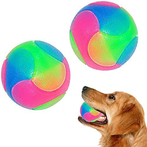 Aomier Pelota para perros indestructible, juguete para perros, pelota de goma inteligente, bola interactiva que brilla en la oscuridad para cachorros, gatos y perros (2 unidades)