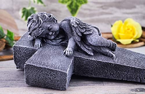 Steinfiguren Spicker Steinfigur Grabschmuck Steinguss Kreuz mit Engel 195/1 Basaltgrau