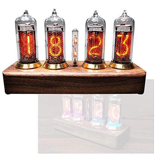 Nixie Tube Clock, Retro Nixie Uhr Bluetooth, 10 Helligkeitsstufen Einstellbar Nixie RöHrenuhr Schwarze WalnussstäMme, Kreative