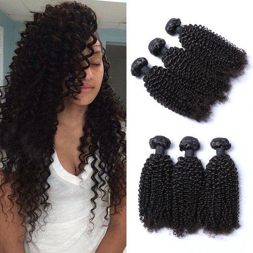 e-forest hairuk trame 3 lots 300 g Extension de Cheveux Humains de Tissages brésiliens vierges naturels non traités bouclés Couleur naturelle Taille : \