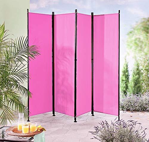 IMC Paravent 4-teilig pink Raumteiler Trennwand Sichtschutz, faltbar/flexibel verstellbar, wetterfester Polyester-Stoff, Schwarze...