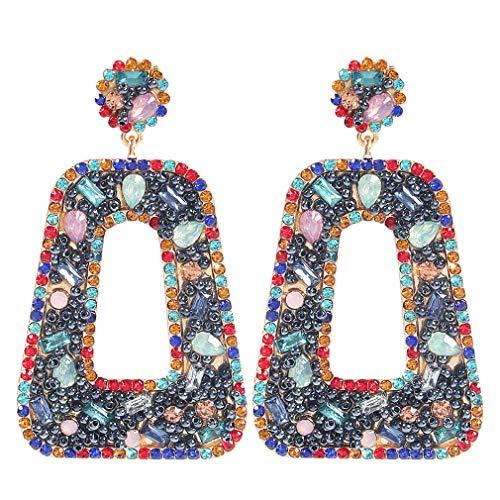 YAZILIND Pendientes de personalidad colgantes con forma de búho de diamantes de imitación de Color pendientes colgantes con forma de trapecio geométrico exagerado joyería