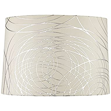 Off-White with Silver Circles Drum Shade 15x16x11 (Spider)