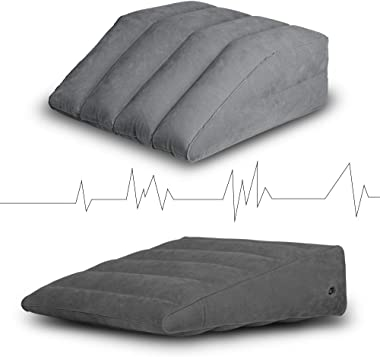 2 Pcs, Inflatable Wedge Pillow and Leg Elevation Pillow, Portable Bed Wedge, Leg Rest Pillow - Lightweight and Portable, Fast Inflating/Deflation Through The Valve, Suitable for Travel