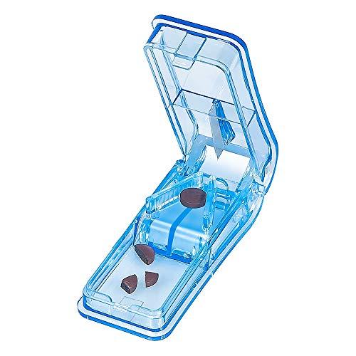 Baoweihua Tablettenteiler für Große und Kleine Tabletten, Tablettenschneider mit Aufbewahrungsfach Blau