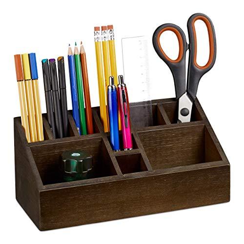 Relaxdays Stiftehalter, Schreibtisch Organizer aus Bambus, mit 10 Fächern für Stifte und Zettel, Ablage, Dunkelbraun, H x B x T: ca. 10 x 23 x 10 cm
