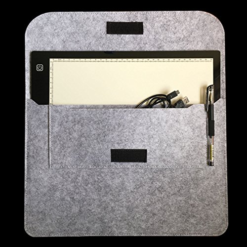 Ownuzz Felt Latop Sleeve Case for 15 Inch MacBook Pro 2019/2018/2017/2016 (A1707/A1990) and 14 Inch Laptop/ A4 light box tracer Felt Bag (Light Gray)