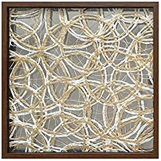 LuxeArt Framed Abstract Paper Wall Decor Art,100% Handmade Golden Rice Paper, 24x24 Interlaced and Crossed Circle 3D Shadow Box Home Decor, Living Room Bedroom Decoractive Crafts Wall Hanging Art