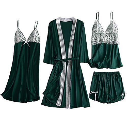 Kiminana 4PC Women Lingerie Pajamas Fashion Sexy Comfy Lace Patchwork Camisole +Shorts+Nightdress+Robe Satin Pajamas Set