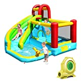 BOUNTECH Inflatable Water Slide, 6 in 1 Bounce House w/ Climbing Wall, Jumping Area, Splash Pool, Water Cannon, Basketball Hoop, Including Carry Bag, Repair Kit, Stakes, Hose (with 750W Air Blower)