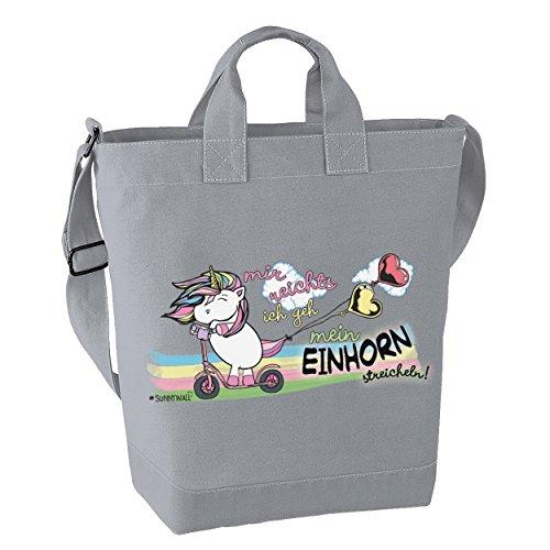Einhorn streicheln unicorn mir reichts - Freizeittasche Strandtasche canvas