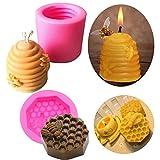 2 stampi per candele a nido d'ape a nido d'ape in silicone per fondente e decorazione di torte, per aromaterapia, cioccolatini, caramelle, decorazioni fai da te