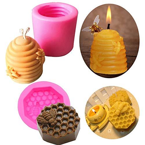 2 moldes para hacer jabón con forma de panal de abeja, de silicona, para decoración de pasteles, aromaterapia, chocolate, caramelos, para cumpleaños, boda, fiesta, decoración de bricolaje