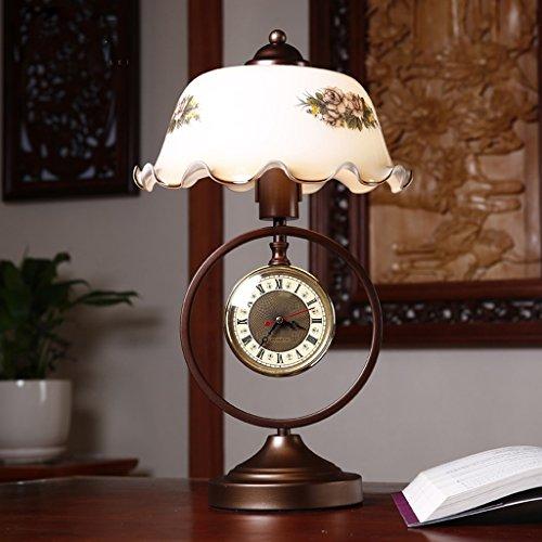 NYDZ Amerikaanse tafellamp met klok, slaapkamer nachttafellamp nachttafellamp bureaulamp woonkamer retro dimbaar decoratieve glazen lampenkap tafellamp