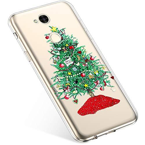 Uposao Kompatibel mit Handyhülle Sony Xperia XA2 Ultra Hülle Transparent Silikon Ultra Dünn Schutzhülle Durchsichtig Handyhülle Kristall Weiche Silikon TPU Handytasche Rückschale,Grün Weihnachtsbaum