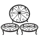TYZ Metal Potted Plant Stand Floor Flower Pot Holder Decorative Pot Trivet Set of 3 (Black)