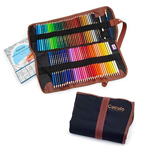 Gekleurde potloden in een opvouwbare kast, 72 potloden op waterbasis, anti-stress kleurboek, niet-giftig, zachte kern 3,5 mm, opklaptas, slijper, verlengingsbevestiging, penseel