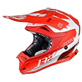 JUST1 Pro Kick Off-Road Polycarbonate Shell MX Motrocycle Helmet (Flat White, Kick White Red-X-Large)