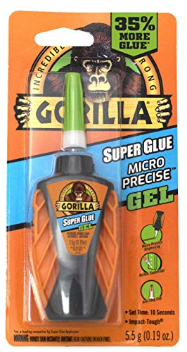 Gorilla Micro Precise Super Glue Gel, 5.5 gram, Clear, (Pack of 1)