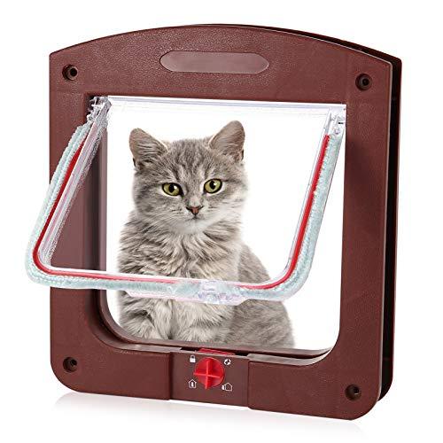 metagio Puerta para gatos y perros con túnel, para gatos, perros pequeños y pequeños animales domésticos (marrón)